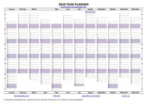 Free year planner for 2010 - A4 size